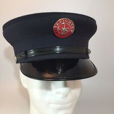 NM AUTHENTIC VINTAGE FIRE DEPT HAT WOOL WENTWORTH Foreman BOSTON, MA Sz 7 1/4