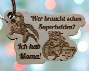 Muttertag Schlüsselanhänger – Geschenk für Superheldinnen – Echtholz – Liebe