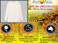 Royal Avalon Sun Ray Men's Beige Long Sleeve Bamboo Blend Tee UPF50+ Protection