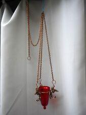 ANCIEN LAMPE DE SANCTUAIRE/VERRE ROUGE/VEILLEUSE/ANGE/EGLISE/AUTEL/61+110cm/XXè