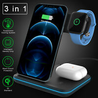 3in1 Qi Wireless Fast Charger Charging Dock Stand For iWatch iPhone 12 Pro Max