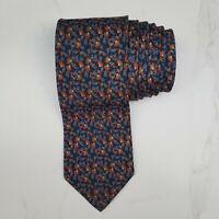 BRIONI Roma Mens Italian Silk Necktie Blue Multicolor Floral Luxury Designer Tie