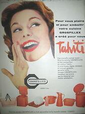 PUBLICITE DE PRESSE GROSFILLEX ARTICLES COULEURS TAHITI FRENCH AD 1958