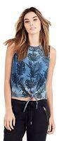 True Religion Women's Tropical Palm Floral Tie Front Tank Top Shirt in Indigo