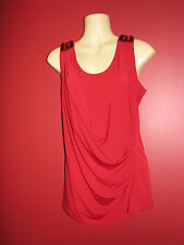 Tania D. Women's Red Stretch Knit Embellished Tank Top - Size Small - NWT