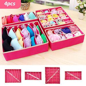 4Pcs Underwear Bra Socks Ties Drawer Organizer Storage Box Divider Tidy Wardrobe