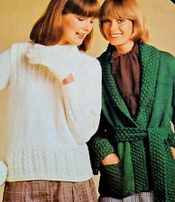 1970s Kimono Saddle Shoulder Polo Cable Gloves Carousel L343 Knitting Pattern