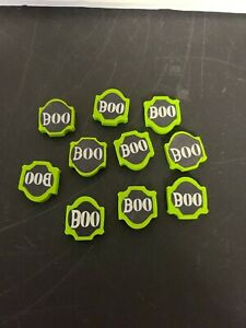 """Lot of 10 Halloween 1"""" Rubber Erasers """"BOO"""" Green and Black BRAND NEW"""