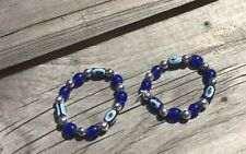 2 Pcs For Baby 👶 BLUE EVIL EYE  Elastic BRACELETS