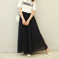 Women's Chiffon Long Maxi High Waist Summer Boho Beach Skirt Dress Black