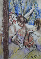 Museum impressionist unique original pastel Dancers painting Marked Signed Degas