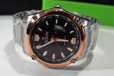 Croton Men Stainless Steel Link Bracelet Watch Rose Gold Tone Accents Black Dial