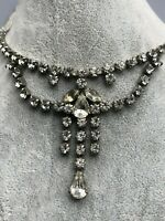 Vintage Rhinestone Necklace Silver Tone Sparkly Statement Jewellery 1950s 50s
