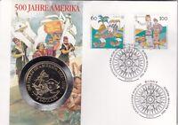 Numisbrief 5 Dollars Cook-Islands 1992 500 Jahre Amerika Briefmarke Stempel Bonn
