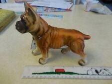 "VINTAGE  Boxer Dog Figurine~ Large 7"" x 6""high+ 3 stooges play money~ ships FREE"