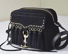 Rebecca Minkoff Black Tassel Leather Camera Messenger Crossbody Bag