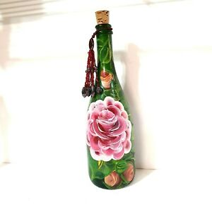 Home Decorative Decor Green Glass Wine Bottle Multicolor Hand Painted Floral Dee
