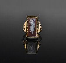 Antique 10k Dancing Greek Goddess Sardonyx Cameo Ring, circa1800's - size 5 1/2