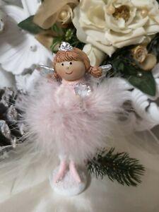 Angel Decorative Figurine Spring Pink Heart Christmas Shabby Vintage 16cm