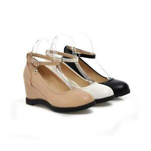 Women's Round Toe Court Pumps Wedge Mid Heel Ankle Strap Shoes Casual Mary Janes