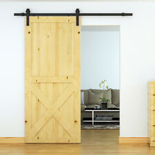 6.6FT Sliding Wood Barn Door Hardware Track System Carbon Steel