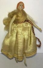 Antique Celluloid Miniature Angel Doll Christmas Ornament -Germany Silk Dress 5""