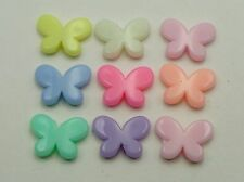 100 Mixed Pastel Color Acrylic Cute Butterfly Beads Charms 17X12mm