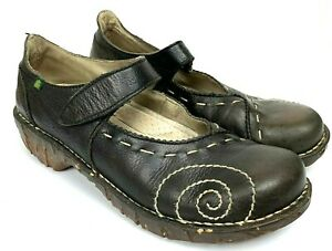 El Naturalista Brown Distressed Leather Mary Jane Women's Shoes Sz 8/39