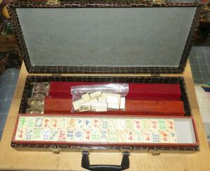 Vintage Mid Century Mah Jong Game Set In Faux Alligator Case
