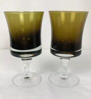 """Olive Green Goblets 6"""" Tall Wine Water Glasses Vintage Wine Glasses Vintage"""