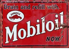 "TIN SIGN ""Mobiloil Red Rust""   Gas-Oil   Signs  Rustic Wall Decor"