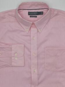 $105 Ralph Lauren 15.5 34/35 Men Classic-Fit Stretch Pink Cotton Top Dress Shirt
