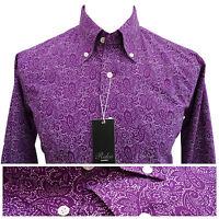 Relco Mens Purple Paisley Long Sleeve Shirt Button Down Collar Mod Vintage Retro