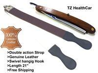 Barber Leather Razor Strop Sharpening Shaving Strap with Straight Razor