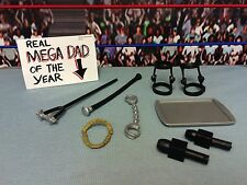 "WWE Wrestling Mattel Lot Accessories 6"" Figures Necklace Microphones Knee Braces"