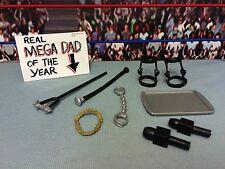 "WWE Wrestling Mattel Lot Accessories 6"" Figures Necklace Microphones Knee Braces"