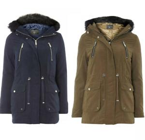 Ex Dorothy Perkins Contrast Faux Fur Parka Super Soft Coat in Khaki and Navy (L1