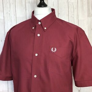 Fred Perry S/S Classic Oxford Shirt. XL / XXL M6601 Maroon RRP £70 / Rare Mod