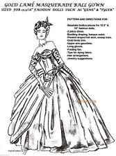 "TYLER + GENE 15.5-16"" doll  GRACE KELLY GOLD LAME Masquerade Ball  DRESS PATTERN"