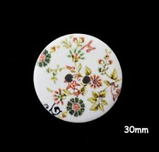 10 Large Wooden Round 30mm Psychedelic Black /& White Chequered Buttons BU1076