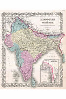 India, Historic Map of by Colton, 1855; First Quality Antique Reproduction