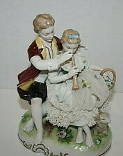 Vintage Unterweissbach Germany Lace Dresden Porcelain Lovers Figurine Flute Play