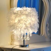 Crystal Pendants White Feather Shade Lamp Night Light Table Bedside Party Decor