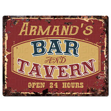 PPBT0618 ARMAND'S BAR and TAVERN Rustic Tin Chic Sign Home Store Decor Gift