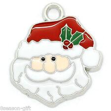 10PCs Gift Charm Pendants Enamel Father Christmas Silver Tone 24mmx21mm