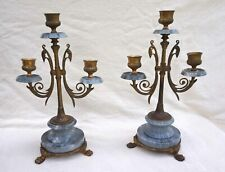 French Engraved Bronze Blue Turquin Marble Pair Candlestick 3 Lights 1840
