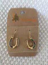 Yellowstone Native American Gold Fashion Jewelry Earrings Horse Shoes Abalone