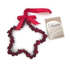 Decoración de Navidad Estrella Colgante Árbol Puerta Artificial Rojo Berry corona Home