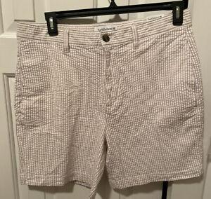 Men's Saddlebred Comfort Flex Shorts Tan/white Striped Size 34 X 7 New