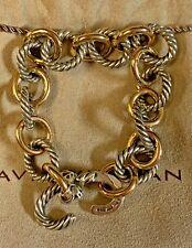 "Authentic David Yurman 12mm sterling silver and 18k gold oval link bracelet 8"""